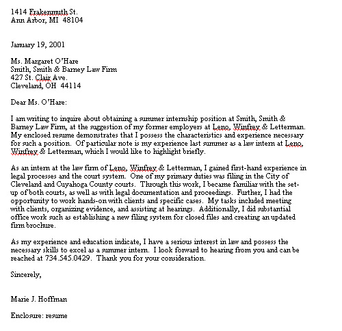Law school intern cover letter