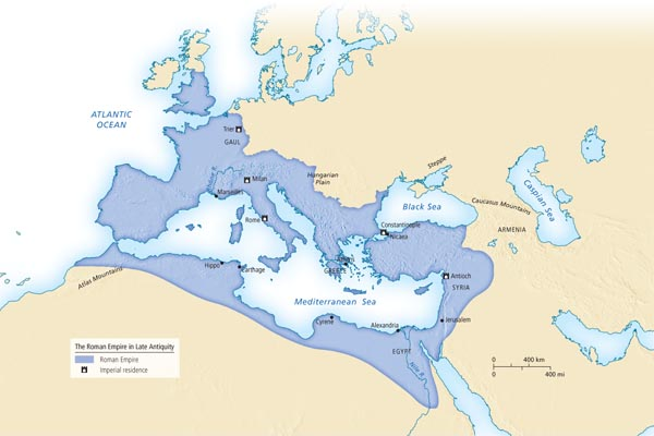 Late Roman Empire Map.The Roman Empire In Late Antiquity