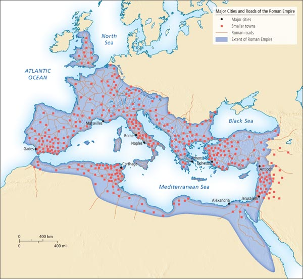 Major Cities and Roads of the Roman Empire