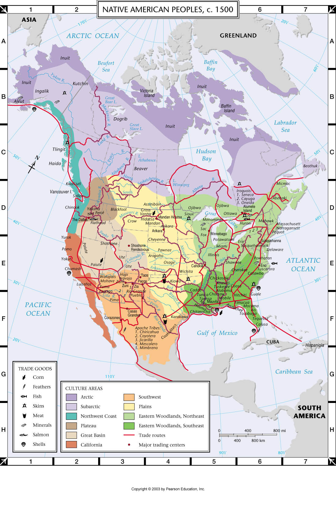 Atlas Map: Native American Peoples, c. 1500