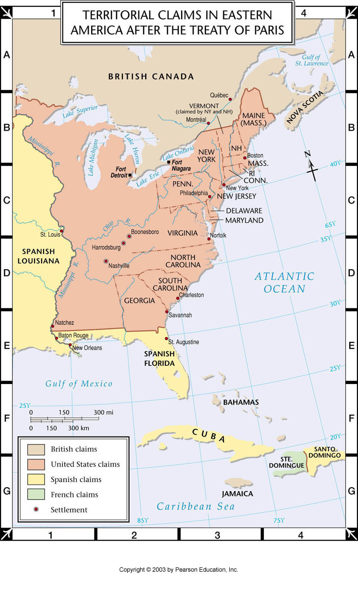 Atlas Map Territorial Claims In Eastern America After Treaty Of Paris - Treaty of paris map