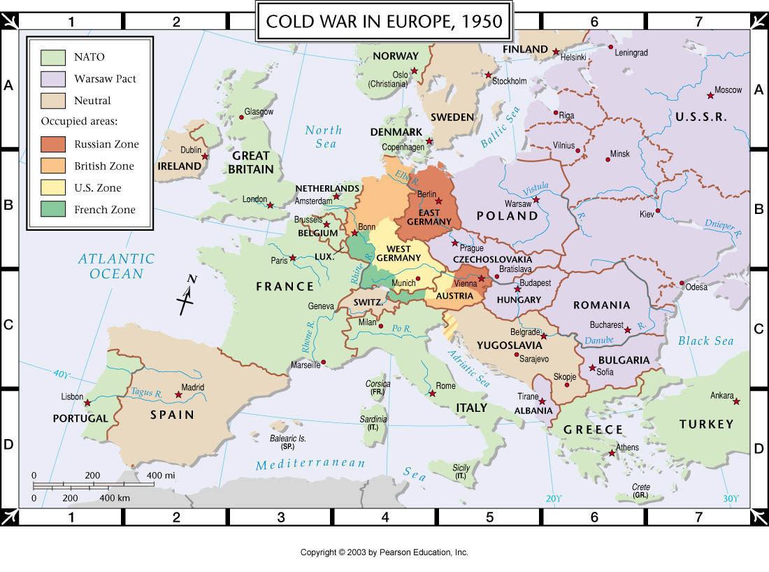 Map Of Europe 1950s.Atlas Map Cold War In Europe 1950
