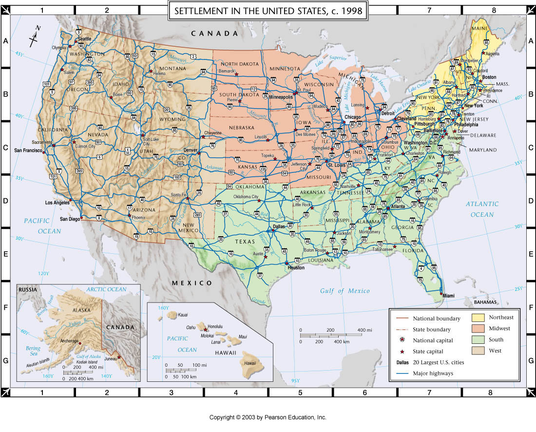 Atlas Map Settlement Of The United States C - Us atlas road map
