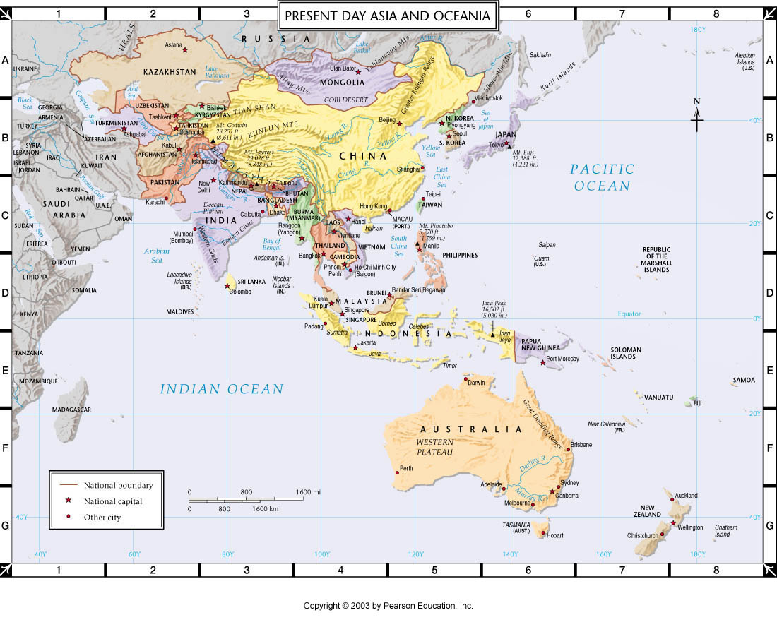 Atlas Map Present Day Asia And Oceania