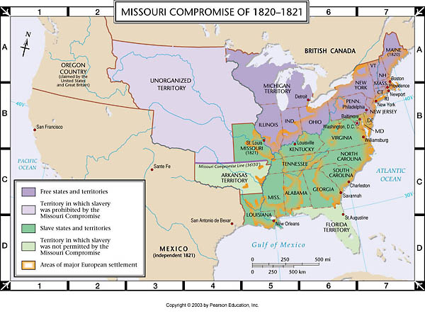 Map Of The Missouri Compromise 1820