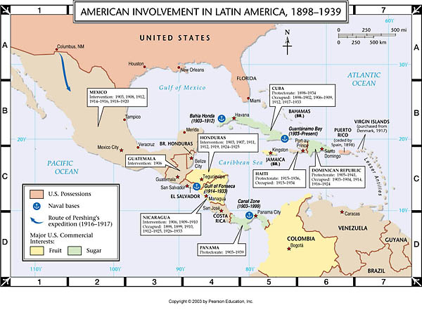 Us Intervention In Latin America Map Atlas Map: American Involvement in Latin America, 1899 1939