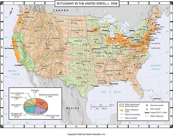 Atlas Map Settlement In The US C - Map of us atlas