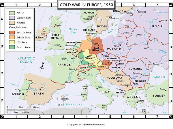 Map Of Europe During Cold War Atlas Map: Cold War in Europe, 1950