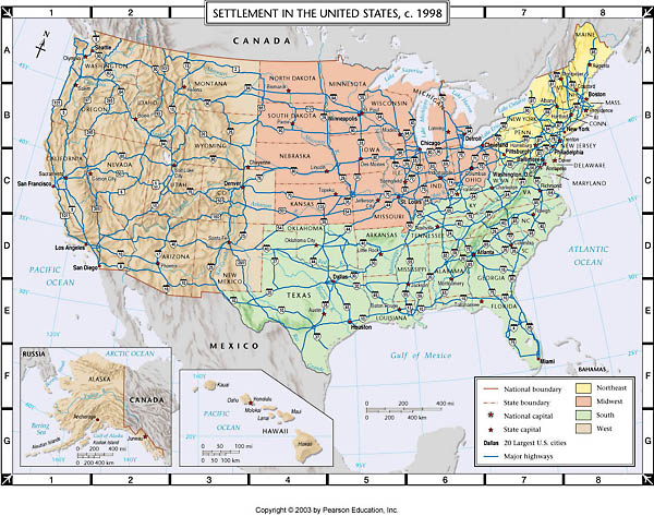 Atlas Map: Settlement of the United States, c. 1998