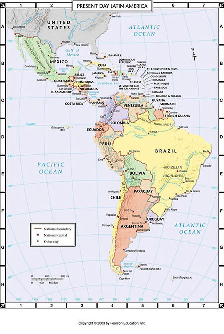 Atlas Map Present Day Latin America