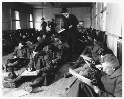 Soldiers taking an iq test during wwi